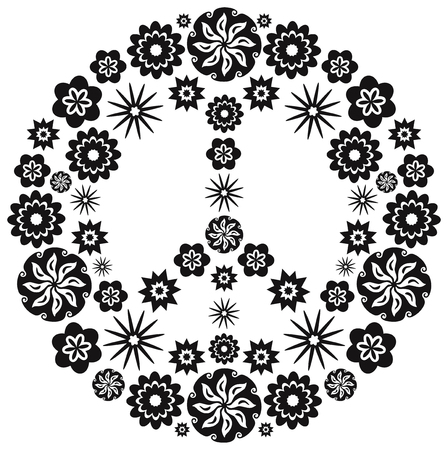black sign: Peace and Love Symbol made of flowers - Black and White