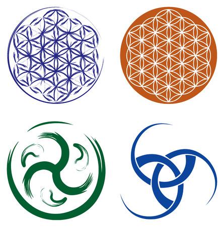 Conjunto de símbolos celtas - Triskel celta nudo y Flor de la vida