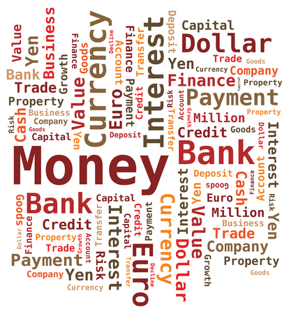 word cloud: Money Word Cloud - Letters in Orange Brown Colors