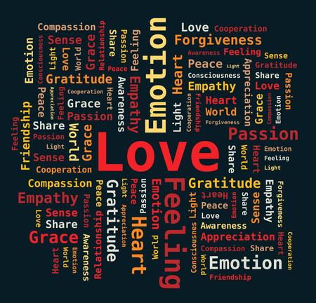empatia: Amor nube de la palabra en el fondo Negro - Cartas de Colores Vectores