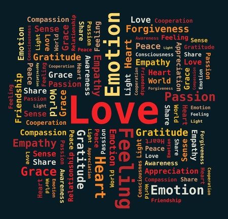 empathy: Love Word Cloud on Black Background - Letters in Colors