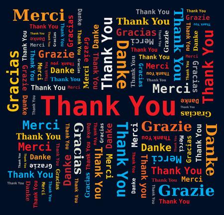 ありがとう単語雲 5 言語 - 黒の背景