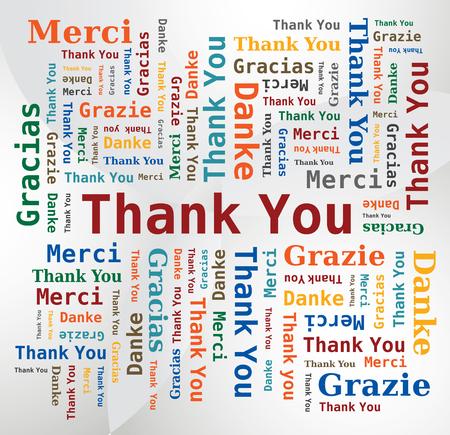 Dank u Word Cloud 5 Talen - gebroken wit Achtergrond Stock Illustratie
