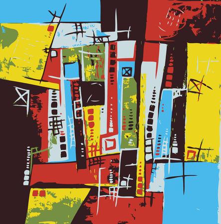 arte abstracto: Original ilustración de arte abstracto Mapa de la ciudad del vector Vectores
