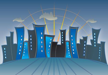 abstract city: Abstract City Skyline Multicolored Night Sunset Illustration