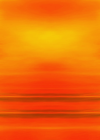 solitary: Abstract Digital Landscape with Beach, Sky, Sun and Ocean in Orange and Red Colors Stock Photo