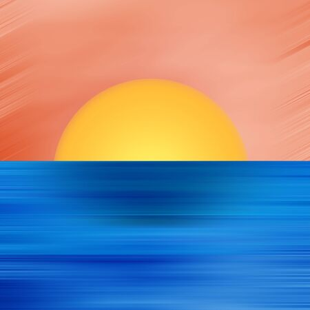 waterpolo: Abstract Digital Landscape with Sunset, Sky, Sun and Ocean in Blue and Orange Colors Stock Photo