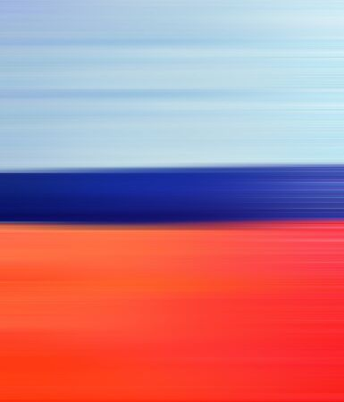 horizons: Abstract Digital Landscape with Horizon Beach, Sky and Ocean in Blue and Orange Colors