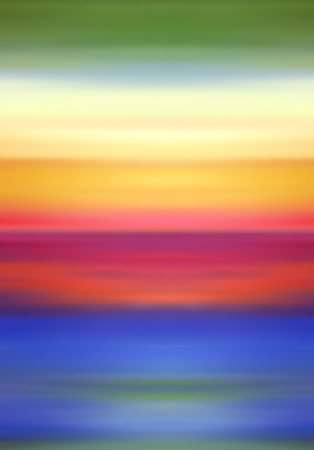 skies: Abstract Digital Landscape with Horizon Beach, Sky and Ocean in Rainbow Colors Stock Photo