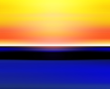 waterpolo: Abstract Digital Horizon Landscape with Sun, Sky and Ocean in Orange Blue Colors