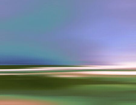 waterpolo: Abstract Digital Landscape with Meadow, Sky, Clouds and Ocean in Blue and Green Colors