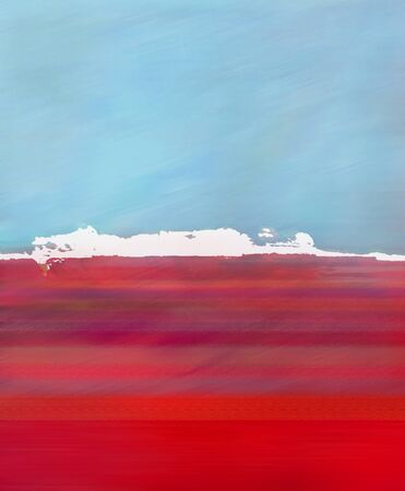 solitary: Abstract Landscape with Digital Island, Sky and Ocean in Blue and Red Colors