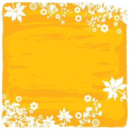 borde de flores: Frontera de la flor Fondo  marco de Grunge en los colores amarillos Vectores