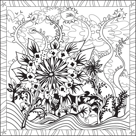 Page Coloring Book for Adults Square Format Floral Design Vector Illustration 向量圖像