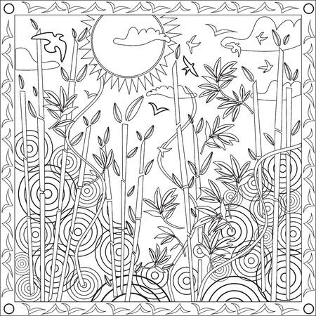 japones bambu: Página del libro de colorante para los adultos Formato Cuadrado japonesa de bambú del vector del diseño de la ilustración de la puesta del sol