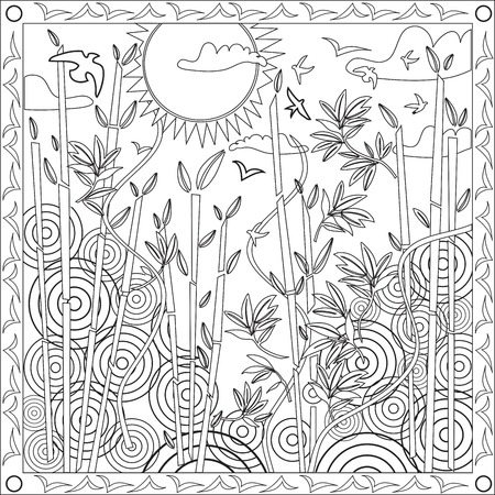 Page Coloring Book pour les adultes Format carré japonais Bamboo Vector Design Illustration Coucher de soleil Banque d'images - 54435346