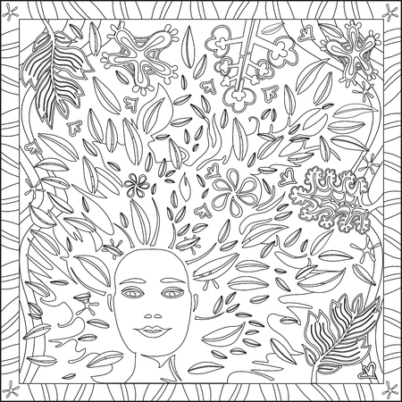 intentions: Page Coloring Book for Adults Square Format Face Foliage Design Vector Illustration
