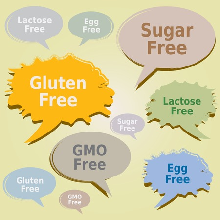 allergens: Dialog Boxes Tags Food Allergens - Gluten Sugar Lactose free Egg GMO Labels