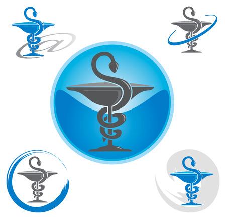 Conjunto de iconos con símbolo del caduceo azul - Salud  Farmacia