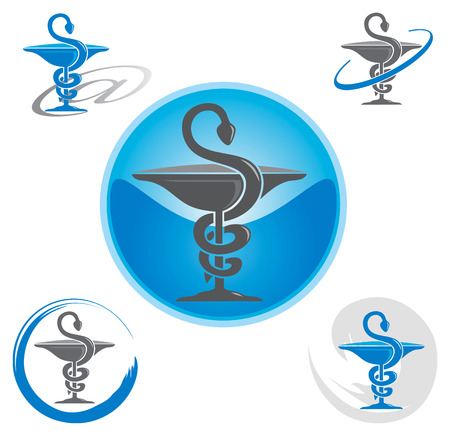 Set of Icons with Caduceus Symbol Blue - Health  Pharmacy