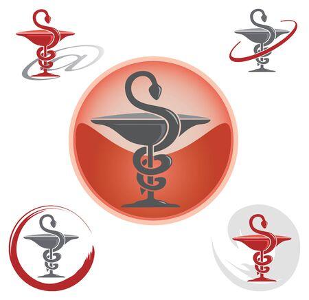 Conjunto de iconos con símbolo del caduceo rojo - Salud / Farmacia