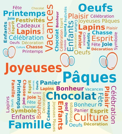 word cloud: Word Cloud Happy Easter French Language in Blue and Orange Colors