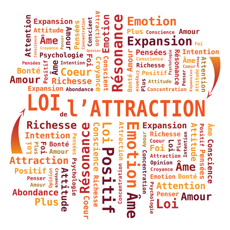law: Law of Attraction French Language - Word Cloud Shape in Orange Colors