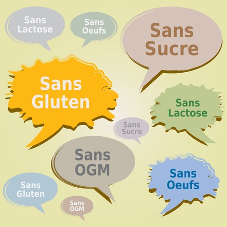 alergenos: Dialog Boxes Tags Food Allergens - Gluten Sugar Lactose free Egg GMO Labels - French Language