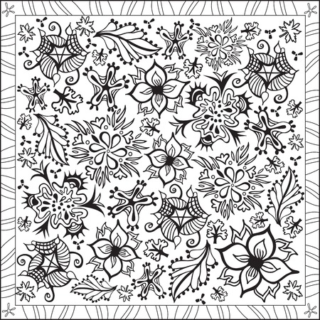 Page Coloring Book for Adults Square Format Flowers Pattern Design Illustration