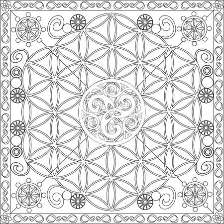 triskel: Page Coloring Book for Adults Square Format Life Flower Triskel Design Illustration
