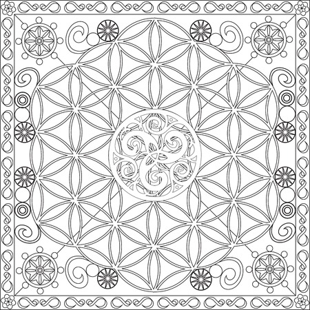 Page Coloring Book for Adults Square Format Life Flower Triskel Design Illustration