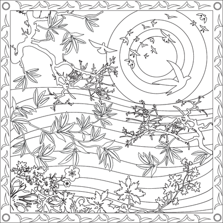 Page Coloring Book for Adults Square Format Bamboo Sun Birds Design Illustration Illusztráció