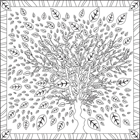 mandala tree coloring page book for adults square format cherry blossom flower design vector illustration