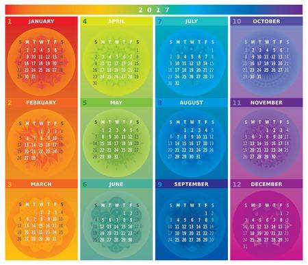 table calendar: 2017 Calendar with Mandalas in Rainbow Colors Illustration