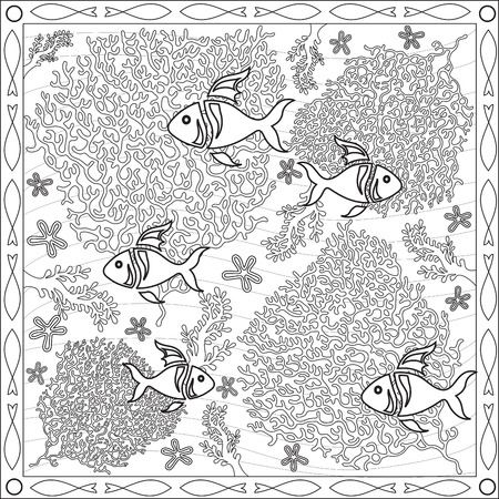 tortuous: Page Coloring Book for Adults Square Fish Format Underwater Coral Design Vector Illustration
