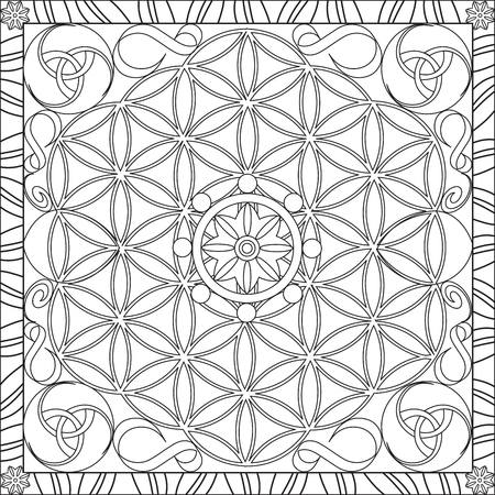Page Coloring Book for Adults Square Format Flower of Life Mandala Design Vector Illustration