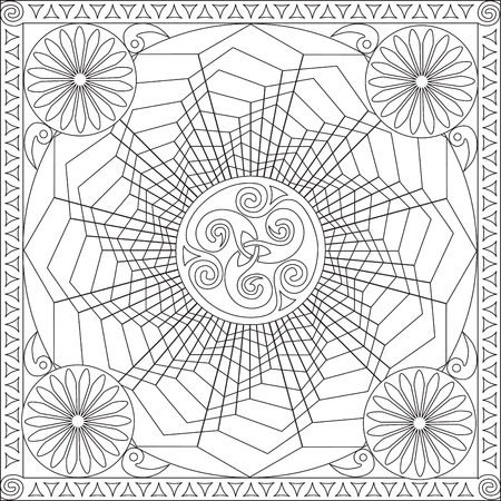 tortuous: Page Coloring Book for Adults Square Format Geometric Flower Mandala Design Vector Illustration