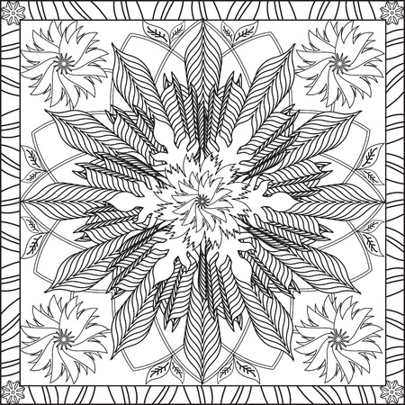 tortuous: Page Coloring Book for Adults Square Format Flower Geometric Design Vector Illustration Illustration