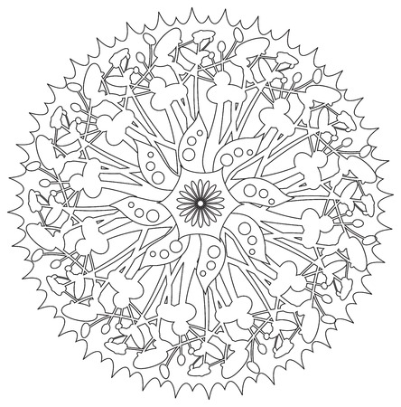 harmony nature: Mandala - Flower, Nature, Energy Circle Symbol in Black and White