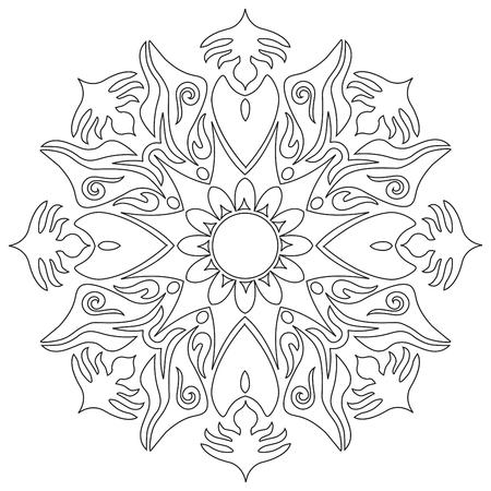 Mandala - Flower, Nature, Energy Circle Symbol in Black and White