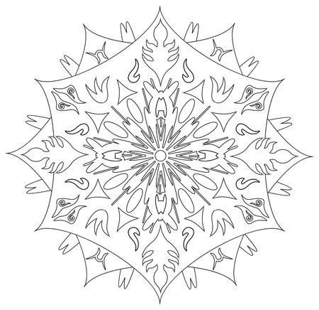 energy symbol: Mandala - Flower, Nature, Energy Circle Symbol in Black and White