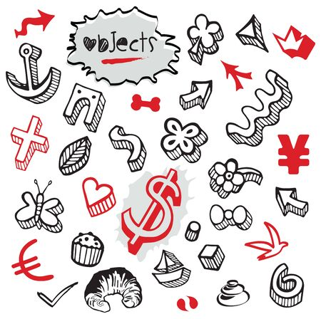 Set of Doodles - Elements and Objects Black and Red