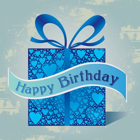 Happy Birthday Gift Box with Heart Pattern and Ribbon in Blue Colors