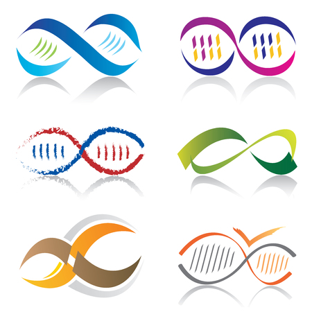 Set of Infinity Symbol Icons / DNA Molecule Icons