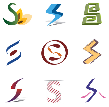 Set of Icons and Logo Elements Letter S