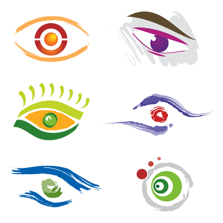Set of 6 Eye Icons for Logo Design in Various Colors Иллюстрация