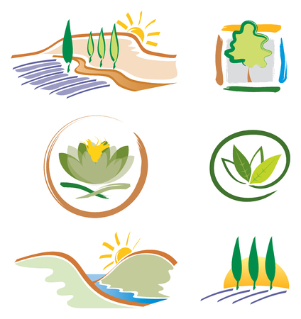 Set of Icons for Nature Design, Landscape Design and Green Business