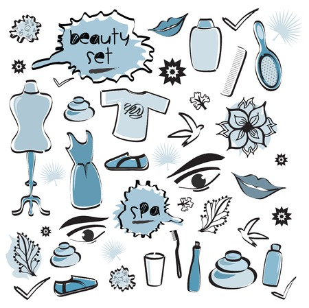 Set of Beauty Items / Spa / Fashion Doodles Blue Colors