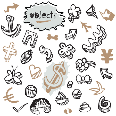 accumulation: Set of Doodles - Elements and Objects Black and Brown Illustration