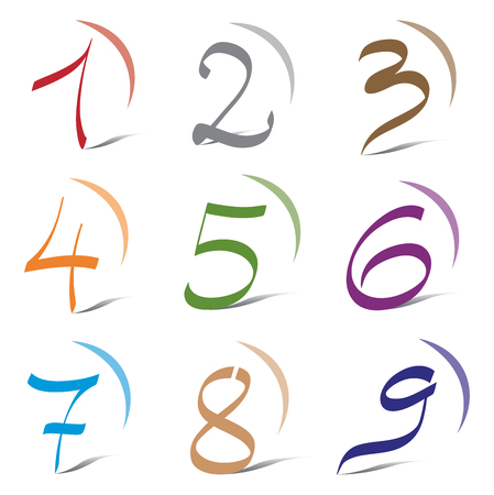 Set of Icons and Logo Elements Numbers Digits 1 to 9